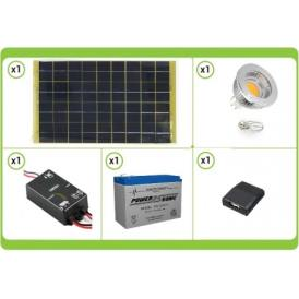 Solar KIT base complete of solar panel, solar charger, battery, MR16 5W LED hotspot and usb charger