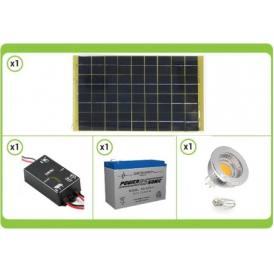 KIT Solare Fotovoltaico base da 10W 12V completo di regolatore di carica, batteria e lampadina led da 5W