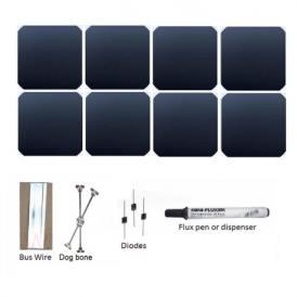 "KIT 66W 20 celle solari Sunpower c60 5""x5"" (125x125mm) Monocristalline flessibili A-grade"