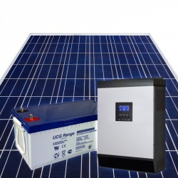 Home DIY off-grid photovoltaic KIT system composed by 2 PV poly modules 1 hybrid inverter 2400W power and 2 GEL 100Ah batteries