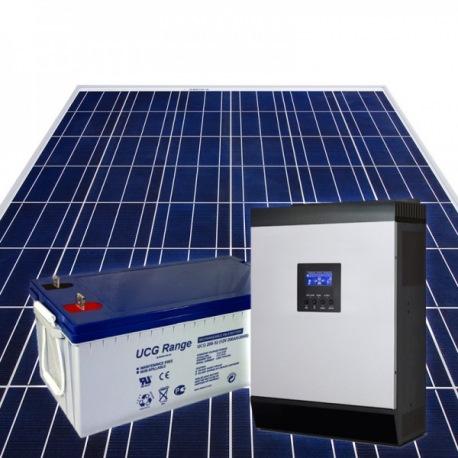 Kit fotovoltaico ad isola composto da 2 moduli fotovoltaici policristallini 1 inverter ibrido 2400W 24V e 2 batterie GEL 100Ah