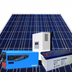 Home DIY off-grid photovoltaic KIT 3KWp composed by 12 PV poly modules 1 MPPT 1 hybrid inverter 4KW power and 4 200Ah batteries