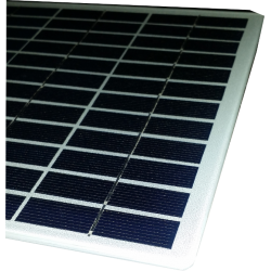 Modulo fotovoltaico personalizzato in vetro no cornice 36 celle sfondo bianco da 210X210mm 18V 6W di potenza bordi arrotondati