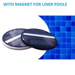 Foco Blue LED solar bajo e agua a fijación magnética para piscinas liner con paredes de acero galvanizado sin obra sin cables