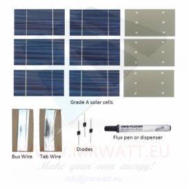 "KIT 1000W 555 solar cells 3""x6"" (80x150mm) A-grade"
