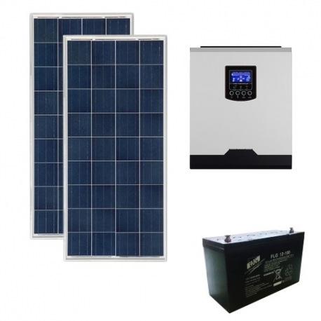 Kit fotovoltaico ibrido 300 Wp con inverter All-in-One 1000W 12V PWM e batteria 100Ah