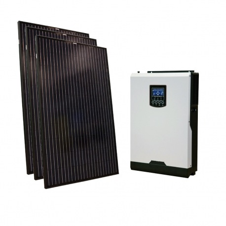 Home DIY off-grid photovoltaic KIT system composed by 2 PV poly modules 150Wp 1 hybrid inverter 1000W power and 1 100Ah battery