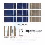 "KIT fotovoltaico 140W de 72 células solares poli 3""X6"" pulgadas (78X156 mm) 3BB tipo A y acesorios de para ensemblar un panel"