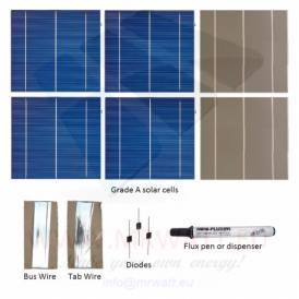 """KIT 1000W 250 solar cells 6""""x6"""" (156x156mm) A-grade"""