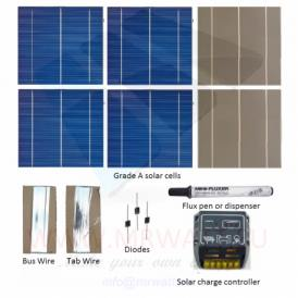"""KIT 150W 36 solar cells 6""""x6"""" (156x156mm) A-grade with solar charger CMP12"""