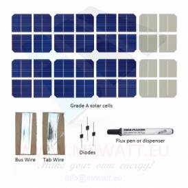 "KIT 9W 12 solar cells 2.5""x2.5"" (62x62mm) Monocrystalline A-grade"