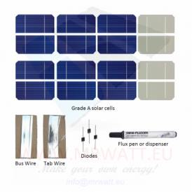 "KIT 100W 72 células solares 2.5""x5"" (62x125mm) Monocristalinas A-grade"