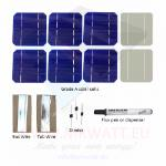 "KIT 100W 36 solar cells 5""x5"" (125x125mm) Monocrystalline A-grade"