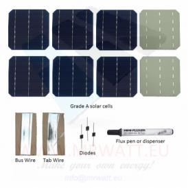 "KIT 1000W 225 solar cells 6""x6"" (156x156mm) Monocrystalline A-grade"