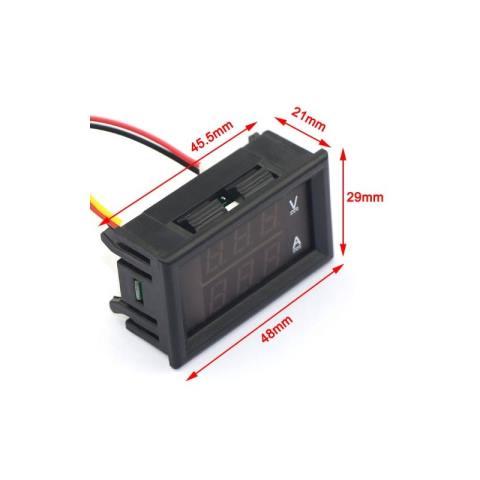 Digital Voltmeter And Ammeter Lcd Red Color Dc 0 100v 0