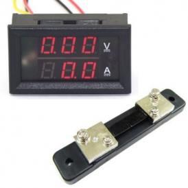 Voltometro e Amperometro Digitale DC 0-100V 0-50A con Shunt