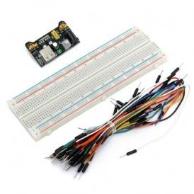 PCB MB102 830 tie points breadboard with power supply module and jumper wires for electronic circuits prototyping
