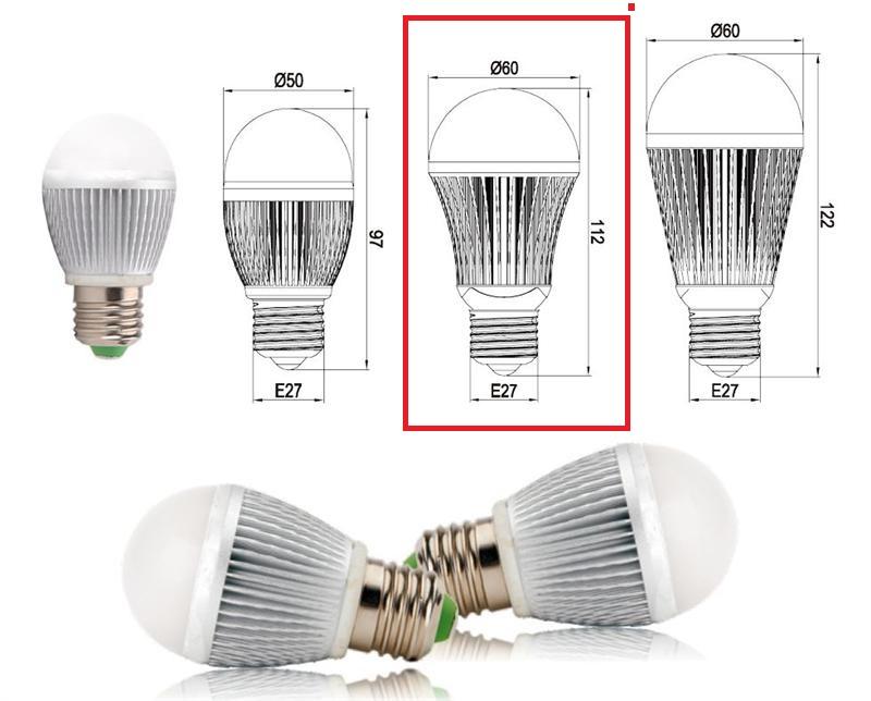 Led 5W E27 Bulb sizes
