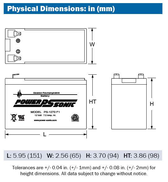 PS1270 Physical Dimensions