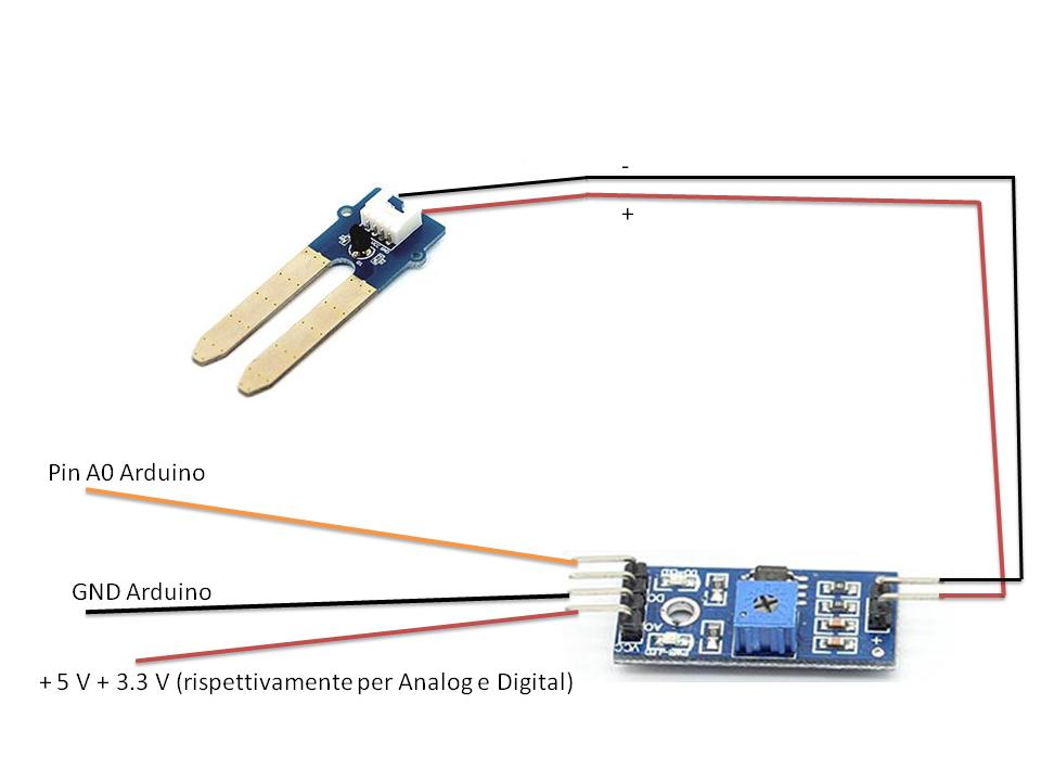 Schema circuito sensore umidità suolo con sonda per arduino