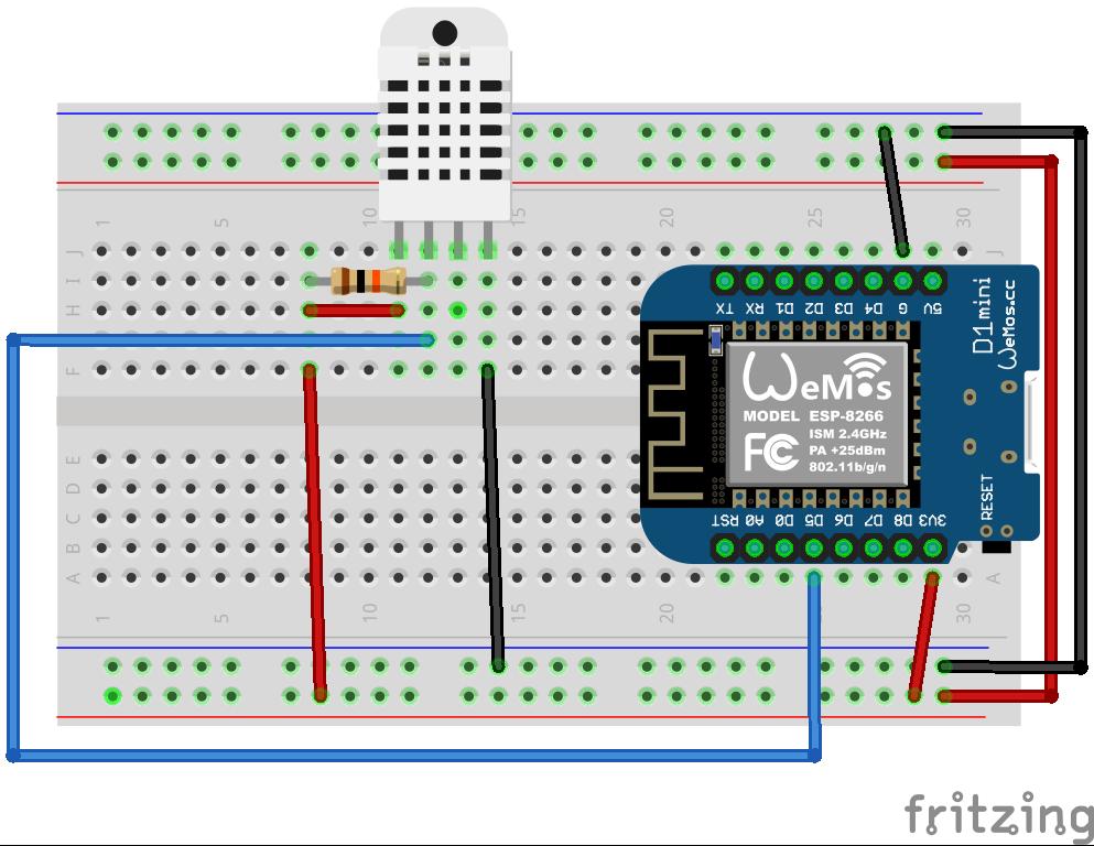Schema collegamento Wemos D1 Sensore di temperatura e umidità DHT11 o DHT22