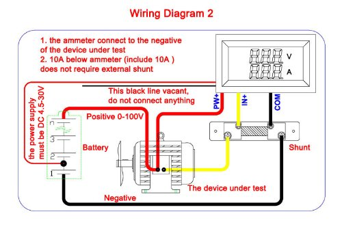 Voltometro e Amperometro Digitale display led rosso DC 0-100V 0-50A con Shunt Schema 2 collegamento