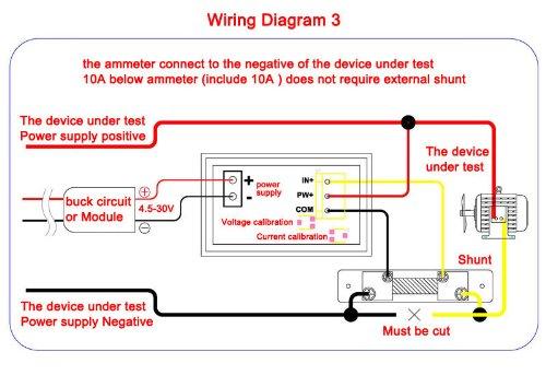 Voltometro e Amperometro Digitale display led rosso DC 0-100V 0-50A con Shunt Schema 3 collegamento