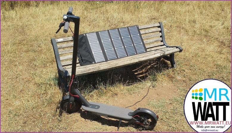 Modulo FV pieghevole portatile con celle Sunpower tagliate 1/6 da 54W 45V 950mA per la ricarica di monopattino elettrico xiaomi M365 o Ninebot ES1 ES2 ES4